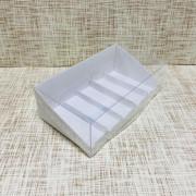 """Коробка 22х12,5х7 см, картон, с прозрачной крышкой и подложками, """"Белая"""" - 25 шт(упак)"""