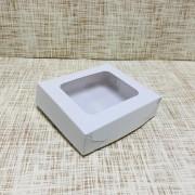 "Коробка 13х11.5х3.5 см, картон, с окошком, ""Белая"" - 25 шт(упак)"