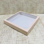 "Коробка 25х25х3.5 см, картон, с окошком, ""Пыльная роза"" - 25 шт(упак)"