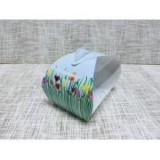 """Коробка 10.5х7.5х10 см, картон, с прозрачной крышкой, сундучок, """"Тюльпаны"""" - 25 шт(упак)"""