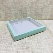 "Коробка 25х25х3.5 см, картон, с окошком, ""Мятная"" - 25 шт(упак)"
