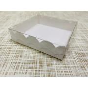 """Коробка 10х10х2.5 см, картон, с прозрачной крышкой и ажурным краем, """"Белая"""" - 25 шт(упак)"""